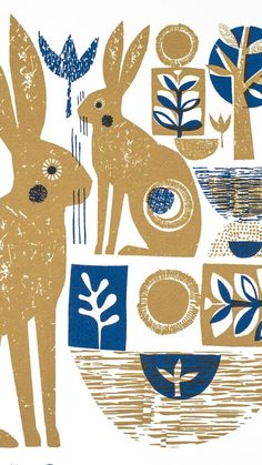 Yellow and blue hares limited edition screenprint by Jane Ormes