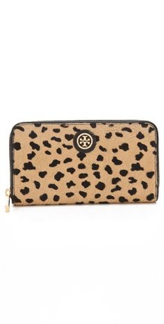 cheetah print zip wallet / tory burch