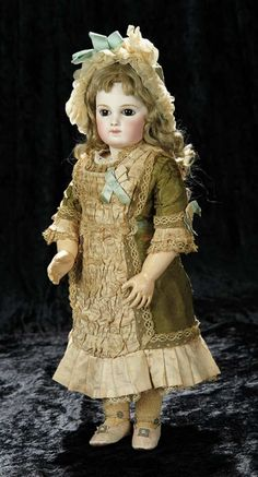 Soirée: A Marquis Cataloged Auction of Antique Dolls and Automata - May 14, 2016: Lot 158. Early Period Gorgeous French Bisque Portrait Bebe by Emile Jumeau