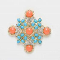 Coral and Turquoise Brooch, from ShopAbientot.com. Coral and turquoise brooch with rhinestone detailing by Kenneth Jay Lane can also be worn as a pendant