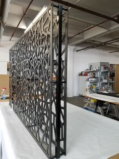 Decorative screen roomdivider to divide space and create privacy. Hanging partition is made of 2 layers of PVC panels and aluminum supports attaches to ceiling and floor with cables. Custom made to order. Laser Cut Screens, Laser Cut Panels, Metal Panels, Pvc Panels, Railing Design, Gate Design, Door Design, House Design, Decorative Fence Panels