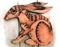 Hare Wall Hanging, wood, Pyrography Wall art, wood burning, hare decor, running…