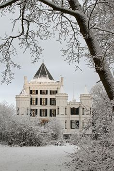 Castle Sandenburg during wintertime, One of the many castles along the langbroeker wetering. Originally a small medieval towerhouse, first mentioned in 1391, the structure was altered and expanded into this palace (containing over 50 rooms) in the late 19th century.
