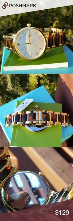 Kate spade Gramercy Grand bracelet watch 1YRU0703 LAST 1! * Authentic 1YRU0703 * Model: Gramercy Grand * Retail: $225 * Two- tone (Gold stainless steel / Tortoise acetate) * New with Kate Spade watch box and owners booklet included  * 38mm  * 3 ATM  * UPC: 796483203846 * WHAT A BEAUTY!  No trades. Buy now or offer only / Same business day shipping kate spade Accessories Watches
