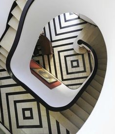 Black and white tiled staircase