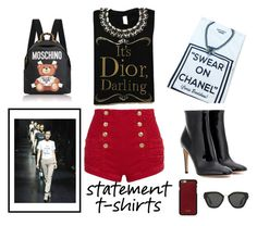 """Statement t-shirt"" by pengy-vanou ❤ liked on Polyvore featuring Chanel, Moschino, Pierre Balmain, Vianel, Gianvito Rossi, Prada, polyvorecontest, statementtshirt and polyvorefashion"