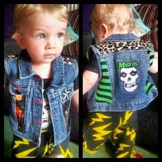Sids rocking his Misfits demin punk vest. Baby punk <3