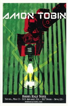 Concert poster for Amon Tobin at Hodi's Half Note in Fort Collins, Colorado in 2007. 11x17 inches on card stock.