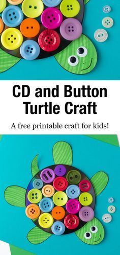 This easy and fun CD & Button Turtle Craft for kids includes a free printable turtle template, making it perfect for home or school. via Fireflies and Mud Pies Easy Toddler Crafts, Bear Crafts, Spring Crafts For Kids, Fun Crafts For Kids, Preschool Crafts, Crafts For Kindergarten, Button Crafts For Kids, Crafts To Make And Sell, Adult Crafts
