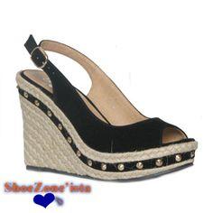 b2a3b14ac1b3 19115 Womens Black Peep Toe Wedge Sandal £16.99 www.shoezone.com  womens