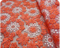 organge organza lace fabric embroidered lace by WeddingbySophie