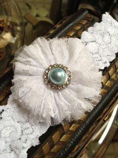 Something Blue Garter with Lace Flower in by LolaBridalDesigns, $11.00