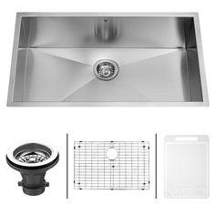 VIGO 32-inch Undermount Stainless Steel Kitchen Sink, Grid and Strainer - Overstock Shopping - Great Deals on Vigo Kitchen Sinks