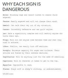 Why each sign is dangerous