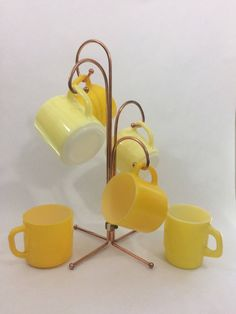 Vintage Copper Mug Tree With Set of 6 Mid Matched Fire King Yellow Milkglass Coffee Mugs by LakesideVintageShop on Etsy