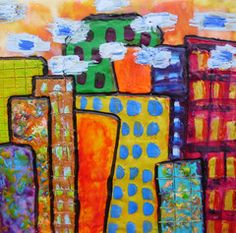 Busy Cities by Bethany Handfield (encaustic on cradled panel)