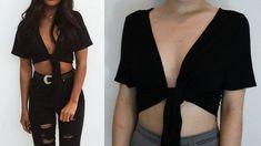 Easy diy no sew tie crop top, diy clothes. Diy Crop Top, Crop Tops, Trash To Couture, Diy Summer Clothes, Diy Clothes Videos, Clothes Crafts, Diy Clothes Tops, Diy Clothes To Make, Thrift Store Diy Clothes