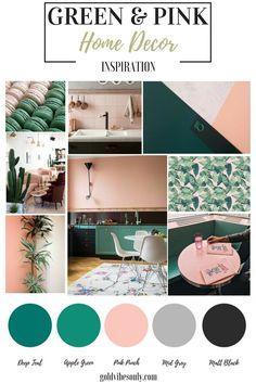 Green and pink interiors and home decor inspiration. How to create the look, trend alert, the new classic colour combination. Brass gold black grey accents. Peach pink.