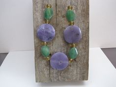 Mardi Gras Necklace Purple Green and Gold by RusticHandmadeMS