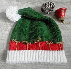 Ravelry: Two Christmas Hats pattern by Natalia Gracheva Christmas Hats, Christmas Knitting, Knit In The Round, Baby Booties, Ravelry, Knitted Hats, Winter Hats, Fair Isles, Pattern