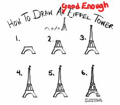 How to draw a Good Enough Eiffel Tower--tutorial image by Jeannel King