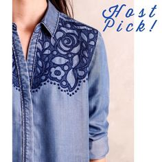 🎉 Flash Sale! Anthropologie Canora Buttondown 🎉 Host pick 3/15! 🎉 Boho Vibes Party! 🎉 If you're like me, you have a ton of denim shirts in your closet. But none of them are as unique as this Holding Horses Canora button down in a soft, flowy tencel. Please note that the first two pictures are stock photos; color best represented in pictures #3 and 4. Sold out at Anthropologie! Brand new with tags. Please ask questions before purchase as all sales are final. Anthropologie Tops Button Down…