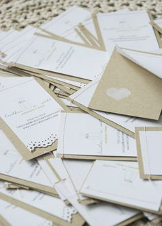 lovely layered white and kraft business cards with lacy edge