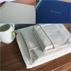 Embossed or printed names on the front of beautiful fine art wedding albums, Rebecca Prigmore Photography