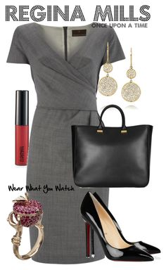 """""""Once Upon A Time"""" by wearwhatyouwatch ❤ liked on Polyvore featuring MAC Cosmetics, Fenn Wright Manson, Christian Louboutin, Stephen Webster, Ippolita, The Row, top handle bags, once upon a time, lana parrilla and business"""