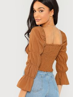 To find out about the Marie Sleeve Shirred Crop Top at SHEIN, part of our latest Blouses ready to shop online today! Cropped Tops, Casual Outfits, Cute Outfits, Fashion Outfits, Crop Tops Online, Spring Shirts, Brown Fashion, Types Of Sleeves, Sleeve Types