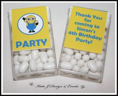 Minions Boys Tic Tac Labels #Minion #Minions #Despicable #Me #Cute #Girl #Boy #Birthday #Bunting #Party #Decorations #Ideas #Banners #Cupcakes #WallDisplay #PopTop #Juice #Water #Labels #PartyBags #Invites #KatieJDesignAndEvents #Personalised #Creative