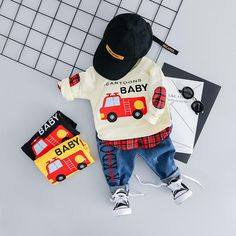 2019 Toddler Infant Clothing Sets Baby Girls Boys Clothes Suit Cartoon Car T Shirt Jeans Kids Children Costume Spring Boys Sets, Ropa de niña, Cartoon Outfits, Cartoon T Shirts, Baby Cartoon, Cartoon Kids, Stylish Baby Clothes, Cute Baby Clothes, Casual Clothes, Vogue, Baby Boy Outfits