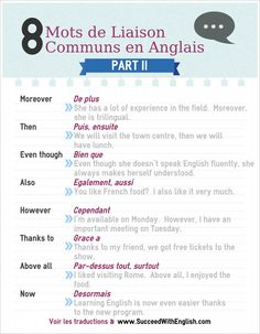 eight mots de liaison communs en anglais half II – www. French Phrases, French Words, English Words, Speak English Fluently, English Vocabulary, French Grammar, English Grammar, How To Speak French, Learn French