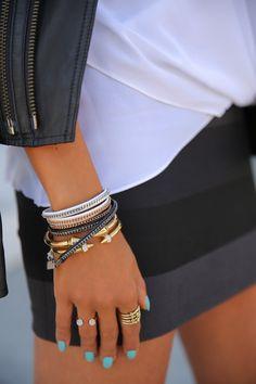 Grey and black striped skirt, crisp white tee, black leather jacket #armcandy