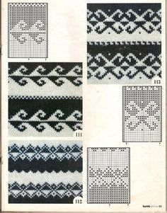 Fair Isle Charts Motif these are great if you are doing double knitting and are changing background color Knitting Machine Patterns, Fair Isle Knitting Patterns, Knitting Charts, Weaving Patterns, Knitting Socks, Knitting Designs, Knitting Stitches, Knit Patterns, Hand Knitting