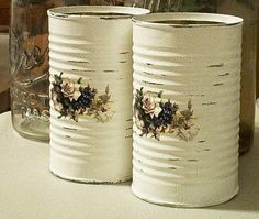 Items similar to 8 shabby chic tin cans white wedding salvaged metal upcycled cottage roses blue violets vases vase repurposed recycled made to order on Etsy Recycle Cans, Diy Cans, Upcycle, Tin Can Art, Tin Art, Tin Can Crafts, Crafts To Do, Shabby Chic Photo Frames, Decoupage Tins