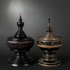 Two offering vessels, hsun ok. Burmese, Art Object, Interior Accessories, Asian Art, Arts And Crafts, Pottery, Display, Deco, Antiques
