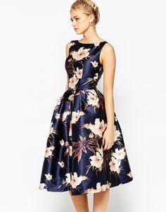 Chi Chi London Full Prom Skater Dress In Floral Print
