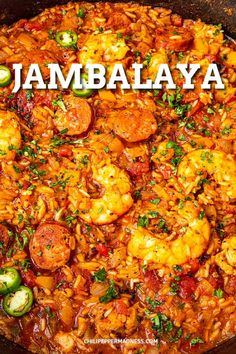 This jambalaya recipe is the best Cajun comfort food and so easy to make, with loads of shrimp, smoked andouille sausage, chicken, and plenty of spices. Seafood Recipes, Chicken Recipes, Dinner Recipes, Easy Cajun Recipes, Dinner Ideas, Cajun Shrimp Recipes, Cajun Shrimp Pasta, Seafood Appetizers, Cajun Cooking