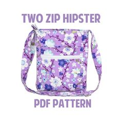 Hipster bag pattern by ErinErickson on Etsy Purse Patterns, Pdf Sewing Patterns, Sewing Hacks, Sewing Tutorials, Diy Sac Pochette, Diy Accessoires, Hipster Bag, Craft Bags, Fabric Bags