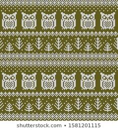 Knitted Christmas New Year Vector Seamless stockvector (rechtenvrij) 1581201115 Christmas Knitting, Knitting Stitches, Christmas And New Year, Tricks, Wool Felt, Loom, Cross Stitch, Blanket, Pillows