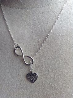 Infinite Love symbol and Heart Necklace by Sheilasattic on Etsy