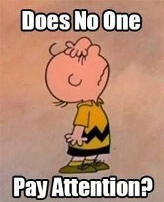 """Does No One pay attention?"", Charlie Brown, I couldn't agree more. Peanuts Gang, Peanuts Cartoon, Charlie Brown And Snoopy, Snoopy Cartoon, Cartoon Fun, Teaching Humor, Teaching Quotes, Teaching Reading, Sewing Quotes"