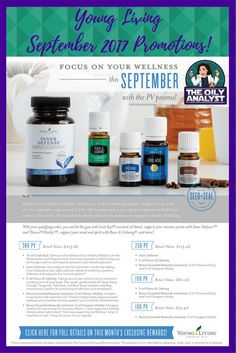 Young Living's September 2017 Promotions! Check them out by clicking on this graphic! When you're ready to join, go to www.theoilyanalyst.com/essential-oils today! | #YoungLiving #EssentialOils #Freebies #Promotions #Promos #September2017 #CoolAzul #Inner