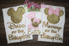 Daddy, Mommy and Child Mickey and Minnie Pink and Gold Set T-shirts