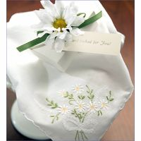 Embroidered Hankie in Gift Box-Choose Daisy or Lily of the Valley - Daisies Wedding - Daisy Wedding Accessories Daisy Wedding, Tiny Flowers, Lily Of The Valley, Bridal Hair Accessories, Wedding Ceremony, Daisies, Invitations, Rose, Sweet
