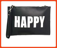 Melie Bianco Clutch Wristlet Cross Body Bags Purse Handbag (HAPPY-SAD/Black/White) (*Partner Link)