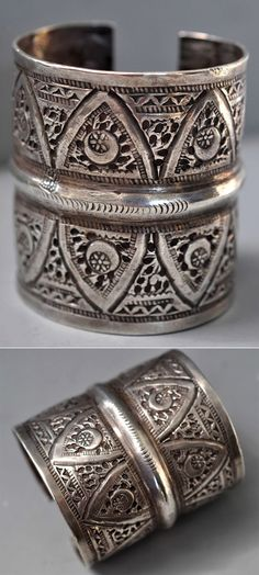 Libya | Cuff; cut though like lace. Has several hallmarks | Late 19th - early 20th century | POR
