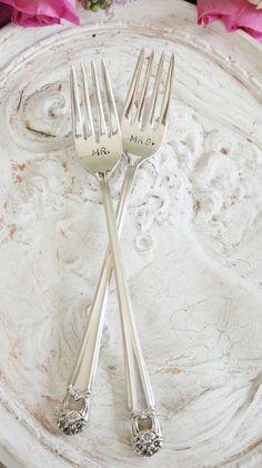 mr + mrs cake forks