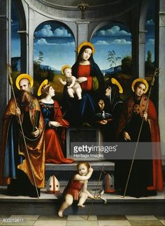 Virgin and Child with Saints Benedict, Justina, Placidus and Scholastica, ca 1515. Found in the collection of Galleria Nazionale, Parma. Artist : Francia, Francesco (1450-1517).